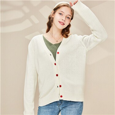 Thick v-neck contrast button closure cardigan