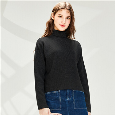 Thick turtleneck slim dropped-shoulder sweater