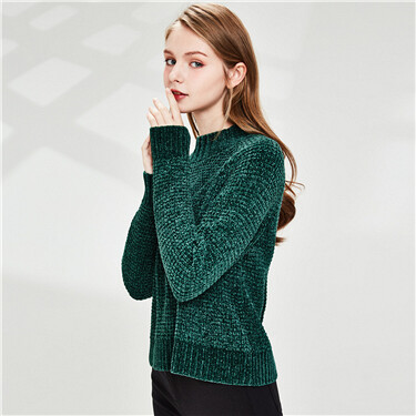 Thick chenille raglan sleeves mockneck sweater