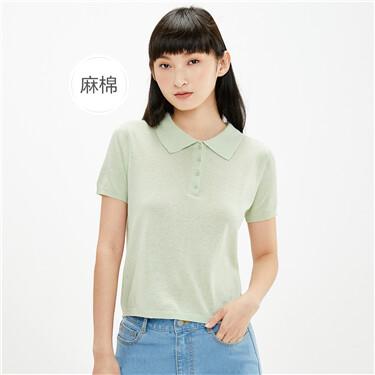天然麻棉纯色短袖POLO针织衫