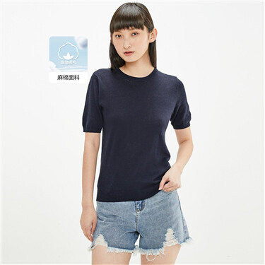 Linen-cotton crewneck short-sleeve knitted tee