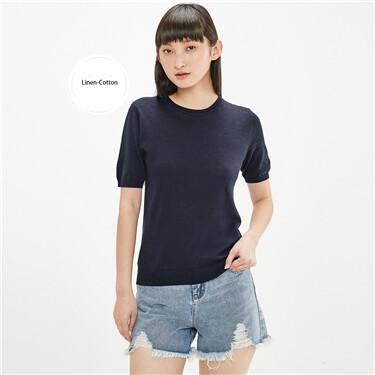 Linen-cotton crewneck short-sleeve knitted tee