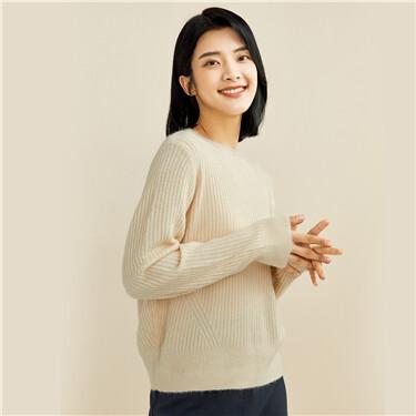 Thick twill crewneck loose sweater