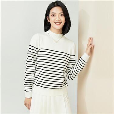 Thick stripe high-neck sweater