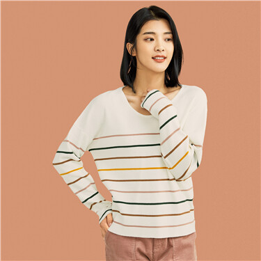 Thick loose stripe v-neck sweater
