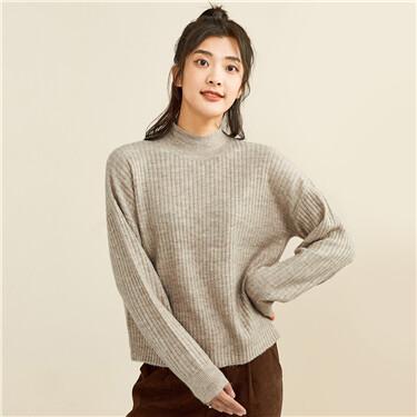Ribbed design turtleneck sweater