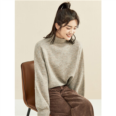 Thick dropped-shoulder turtleneck sweater
