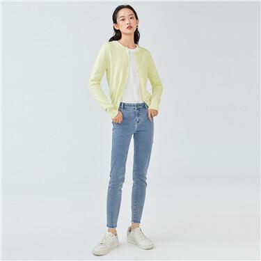 Lightweight plain crewneck cardigan
