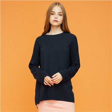 Longer hem at back mid-long knitted wear