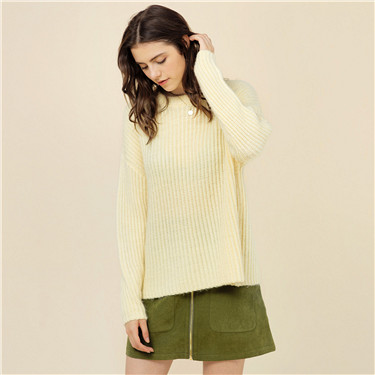 Dropped-shoulder sleeves sweater