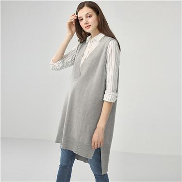 Thick V-neck loose long knit vest