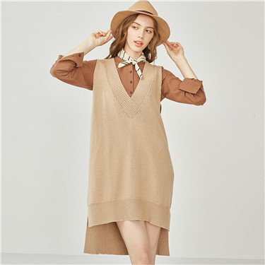 Thick V-neck loose long knit vest