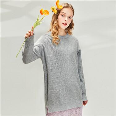 Cotton plain o-neck sweater