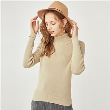 高领修身纯棉套头针织衫