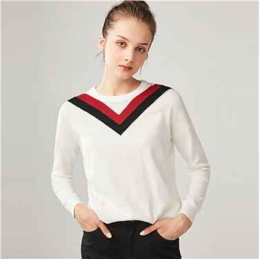 Contrast color crewneck loose sweater
