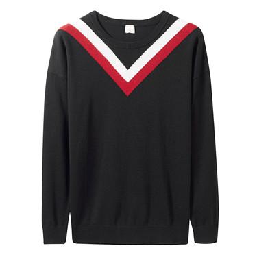 Contrast color crewneck loose sweater