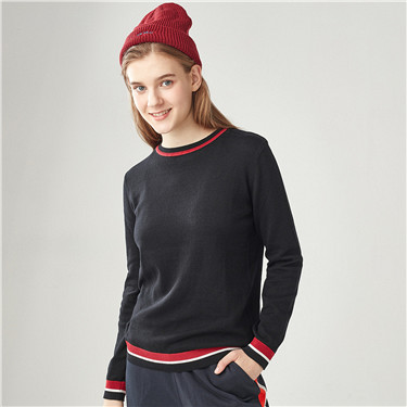 Combed cotton contrast color sweater