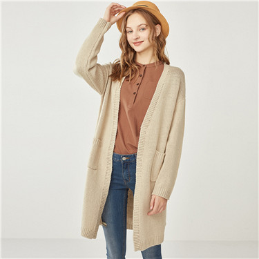 Thick non-button placket long cardigan