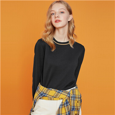 Mockneck long-sleeve sweater