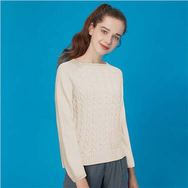 Thick crewneck cable knitted sweater