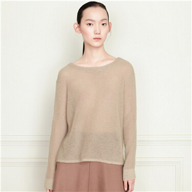 Loose longer hem at back crewneck sweater