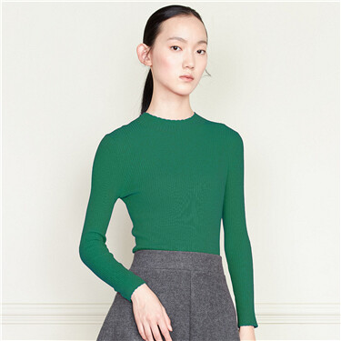 Lace solid slim knitted sweater