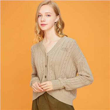 Solid embroidery cardigan
