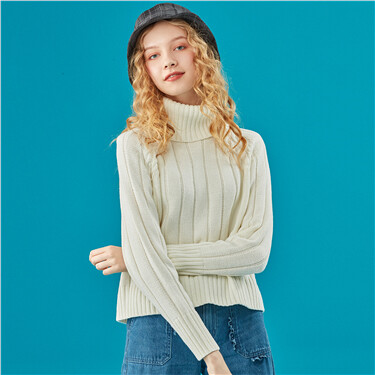 Cable knitted turtleneck sweat
