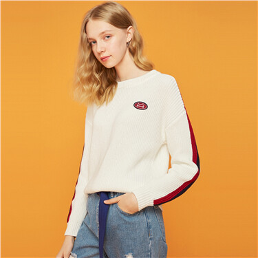 Embroidery contrast knitted sweater
