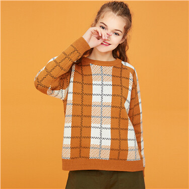 Thick plaid long-sleeve knitted sweater