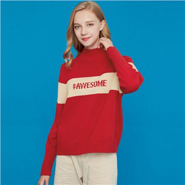 Letter contrast mockneck sweater