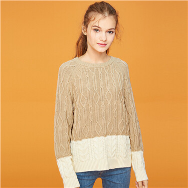 Thick contrast cable knitted sweater