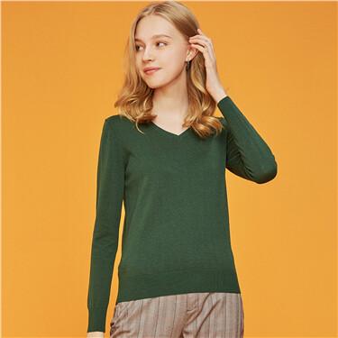 Solid v-neck pullover cardigan