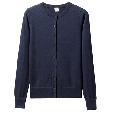 Crewneck cotton long-sleeve cardigan