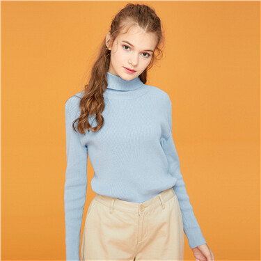 Cotton turtleneck knitted sweater