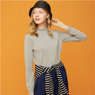Cotton mockneck knitted sweater
