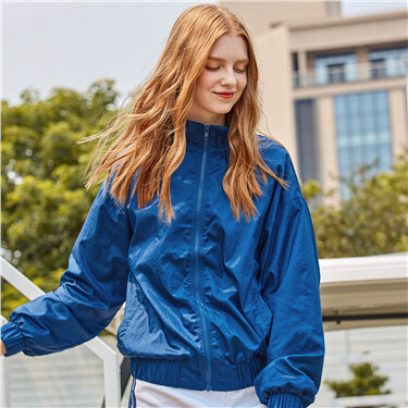 Contrast mesh-lining stand collar jacket