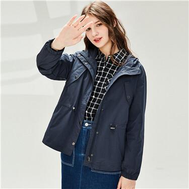Hooded banded-waist thin jacket