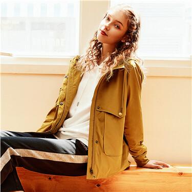 Raglan sleeves hooded thin jacket