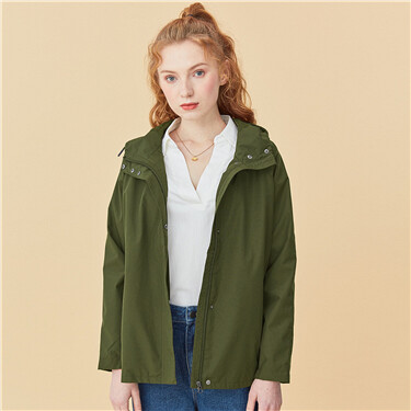 Solid loose hooded jacket