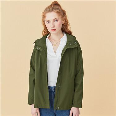 Solid loose hooded jacket