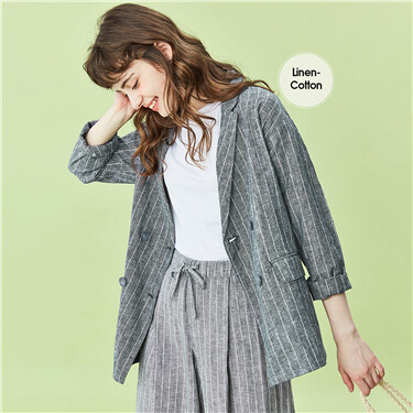 Linen blended loose jacket
