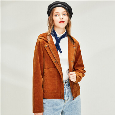 Corduroy cotton patch pockets hooded jacket