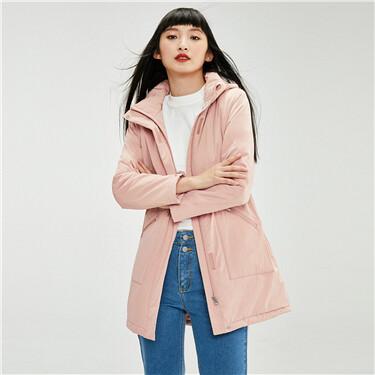 Detachable hood fleece-lined banded-waist coat