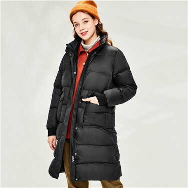 Mid long 90% white duck down jacket
