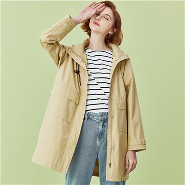 Raglan sleeves hooded Long jacket