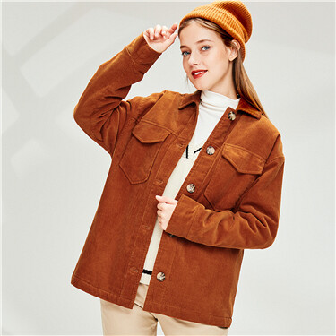 Corduroy loose turn-down collar jacket