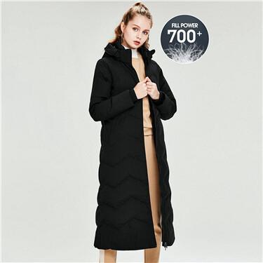 Detachable hood 90% grey duck down jacket