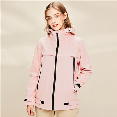 Bonded polar fleece-lined hooded jacket