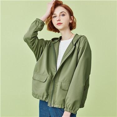 Lightweight hooded solid jacket